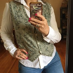 Vintage Cottagecore Embroidered Gingham Vest
